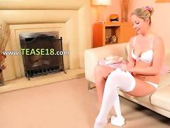 sexy mommy in white hose masturbating