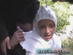 sexually excited french nun drilled outside porno