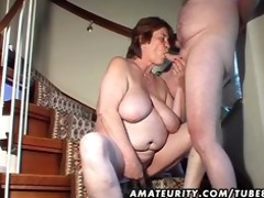 overweight non-professional wife toys and sucks