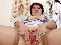 bawdy chunky mommy strips nurse uniform