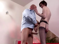 stocking wearing euro aged spanked before she is