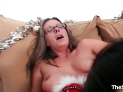 hawt golden-haired and dark brown milfs go mad
