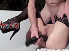 fisting the wifes holes untill she is voids urine