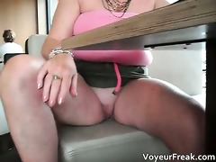 lewd blond hoe flashes in a diner part2