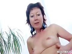 adorable older copulates hot pussy with glass
