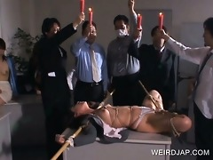 jap sex villein punished with sexy wax leaked on