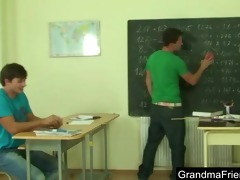 naughty old teacher is nailed by youthful students