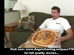 hot bored blonde does fellatio for pizza guy with